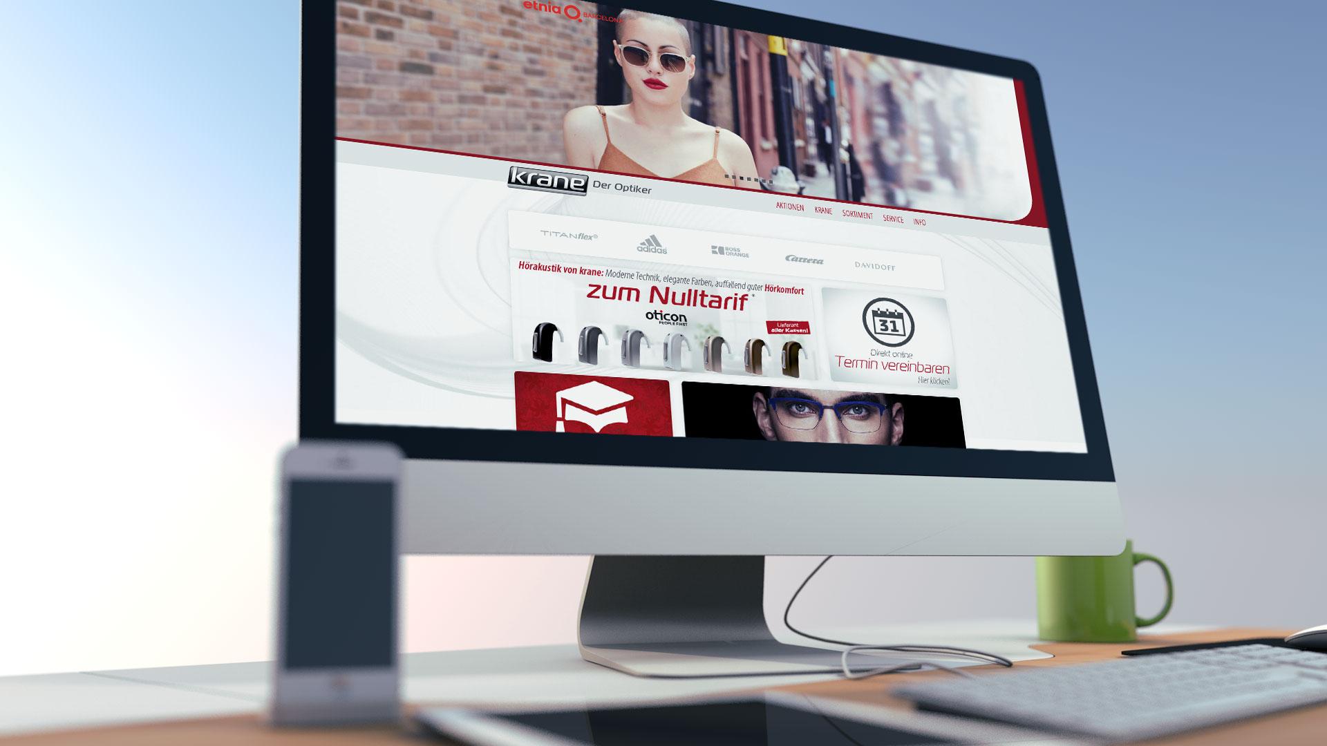krane Seh- und Hörzentrum · Internetauftritt