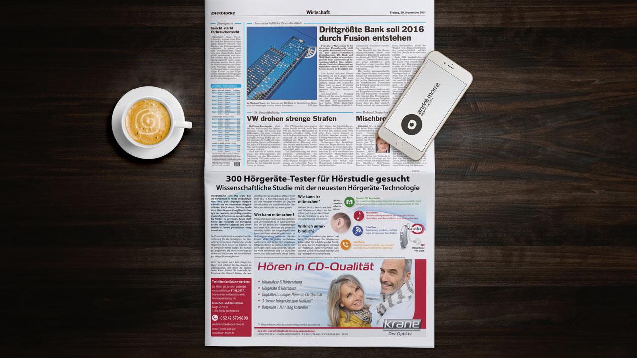 krane Tageszeitung PR-Artikel und Werbeanzeige