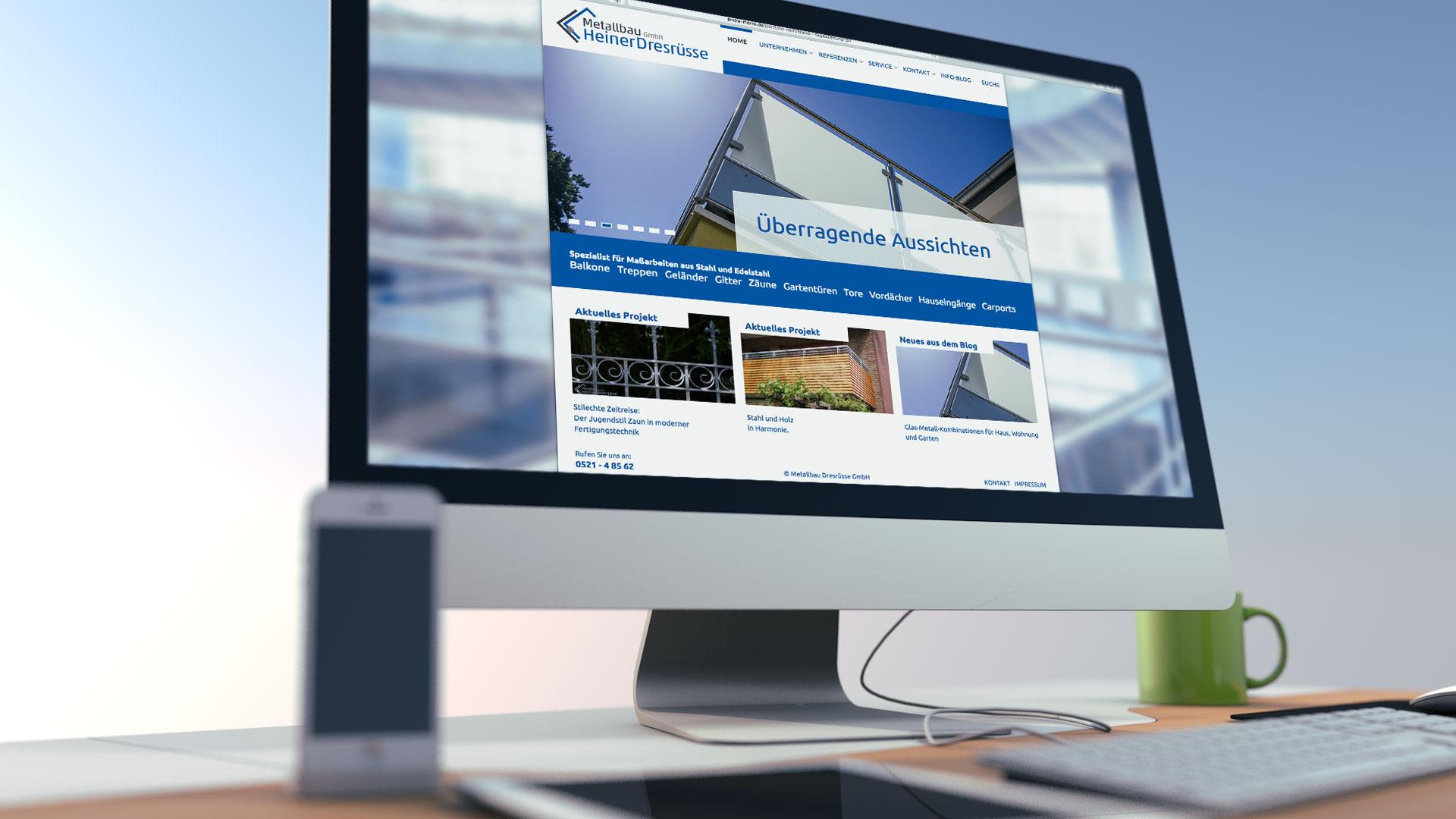 Internetauftritt Metallbau Heiner Dresrüsse GmbH