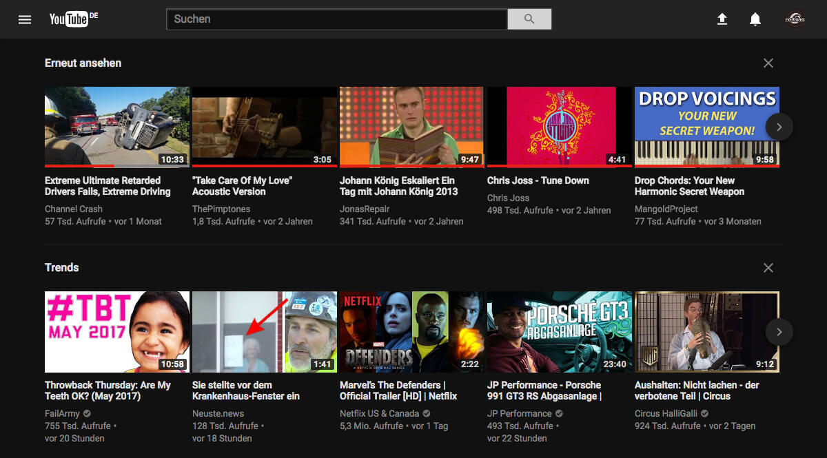 YouTube neues Design: Nachtmodus