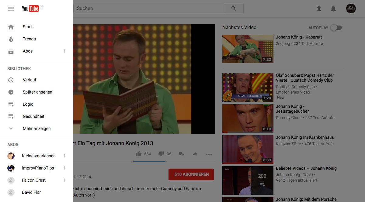 YouTube im neuen Design