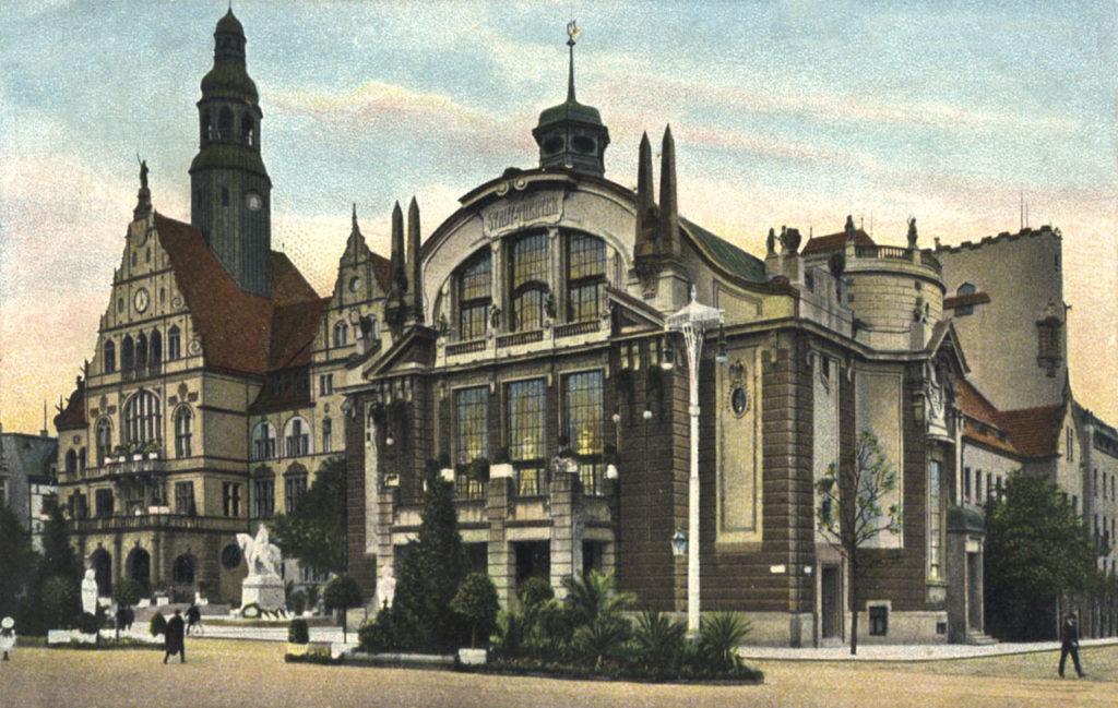 Ansichtskarte von Rathaus & Theater Bielefeld, anno 1910