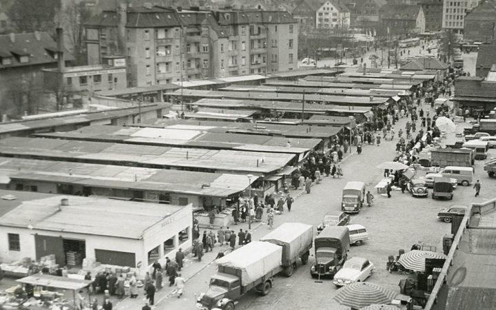 Kesselbrink: Großmarkt in den 1950er Jahren · Foto: Stadtarchiv Bielefeld