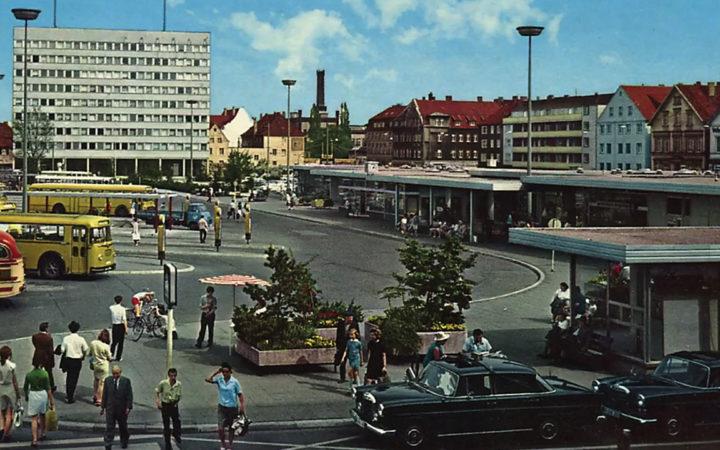 1970er: Kesselbrink mit Blick auf das Polizeipräsidium