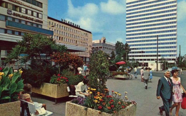 1970er: Kesselbrink mit Blick auf das Fernmelde-Hochhaus