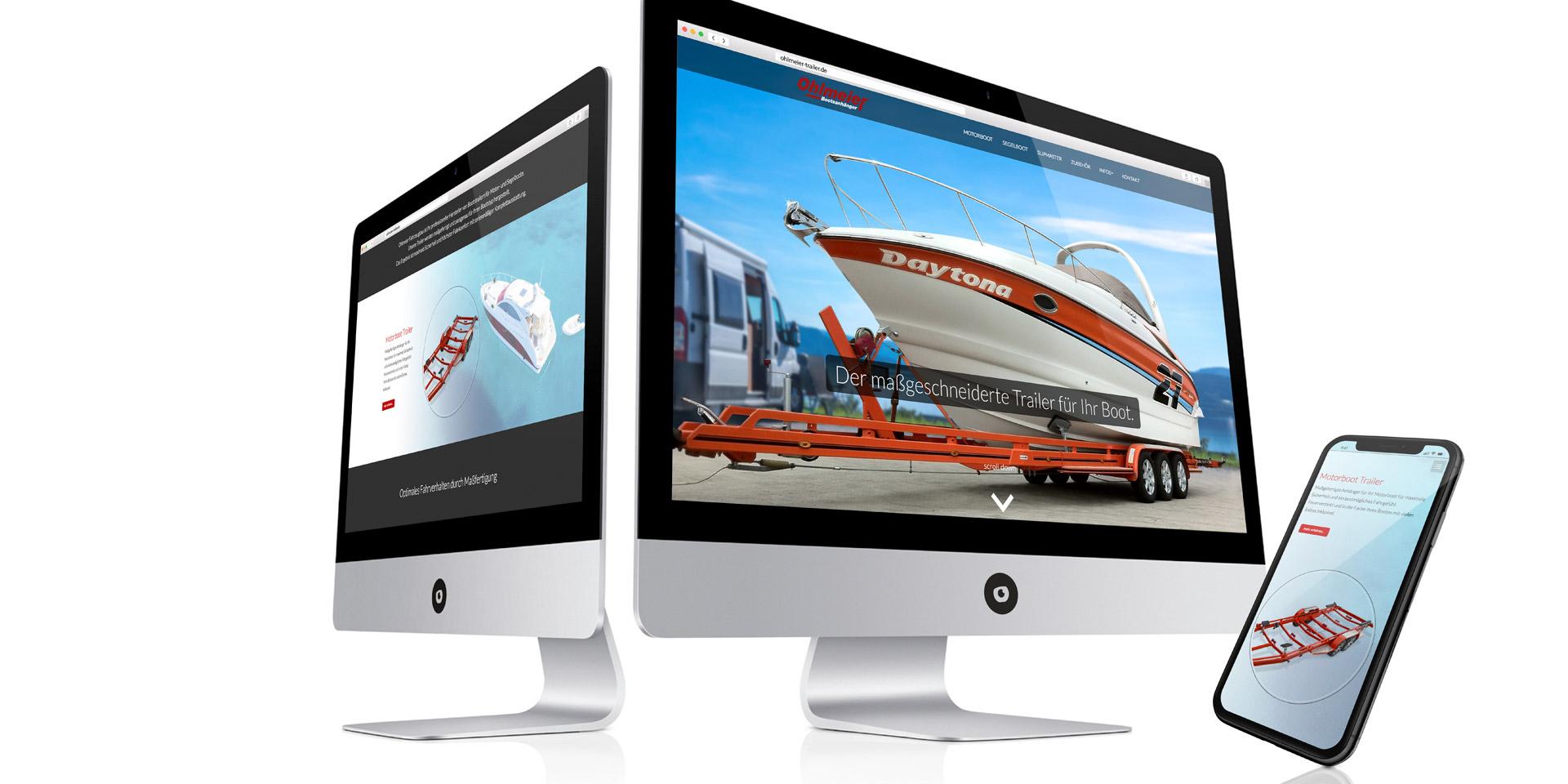 Vom Webdesigner: Ohlmeier Bootsanhänger Internetauftritt