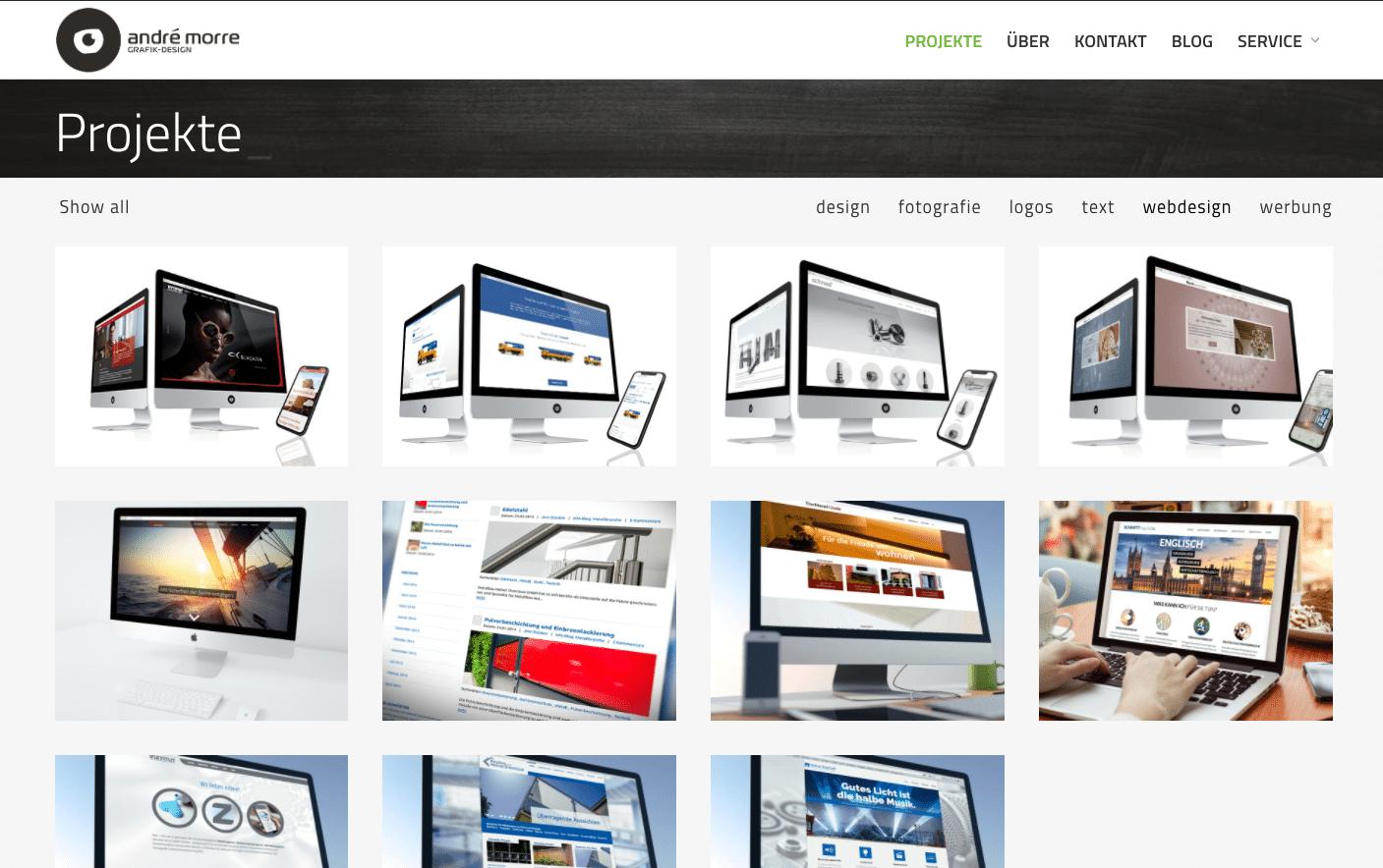 Webentwicklung: Das Portfolio von André Morre Grafik-Design