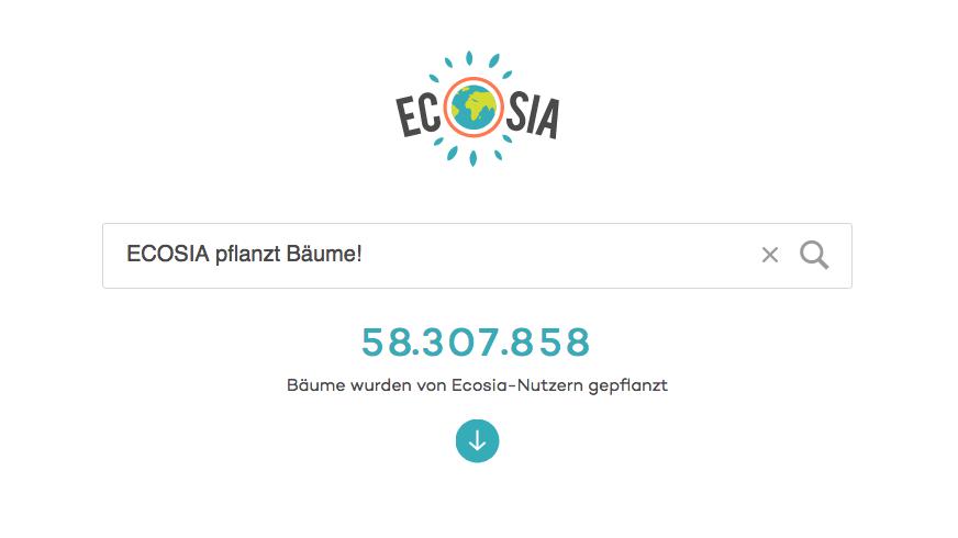 ECOSIA –Die Suchmaschine, die Bäume pflanzt.