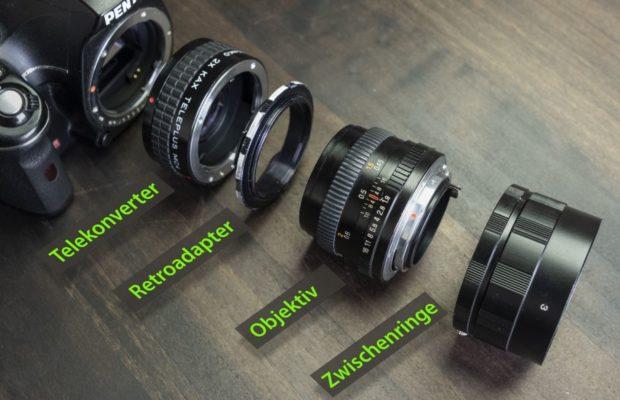 Kamera mit 2x Konverter, Retroadapter und 50 mm Objektiv