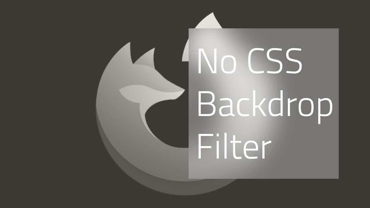 Firefox verweigert den CSS backdrop-filter