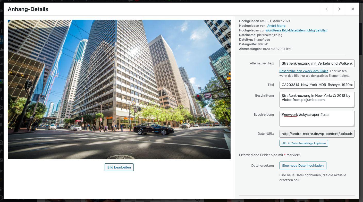 Screenshot der Medienverwaltung von WordPress